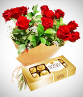 - Combo Pareja Perfecta: Bouquet de 12 Rosas y Chocolates