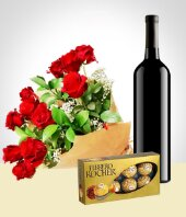 Chocolates - Combo Elegancia: Bouquet de 12 Rosas + Vino + Chocolates